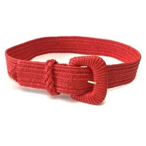 Coral Red Stretch Woven Faux Raffia Belt Small